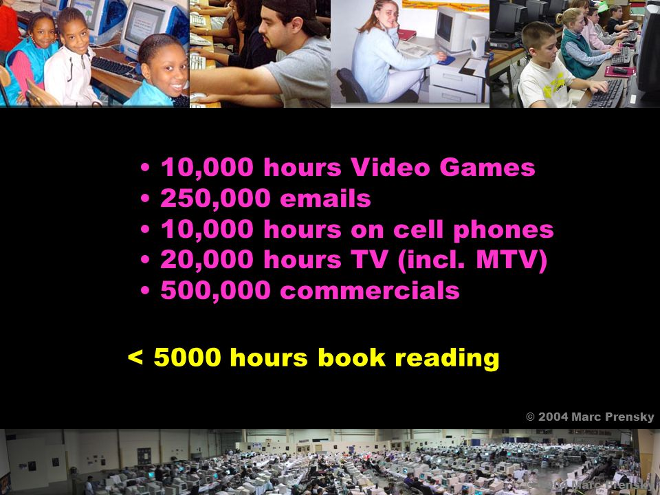 10,000 hours Video Games 250,000 emails 10,000 hours on cell phones 20,000 hours TV (incl.