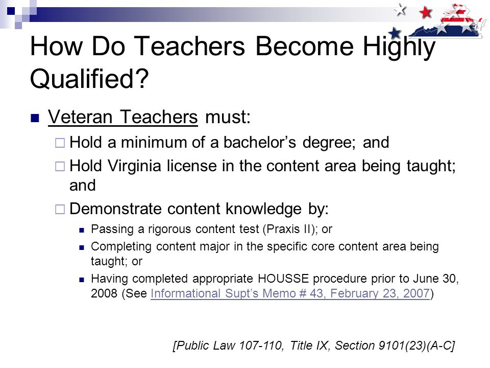 Teacher Qualifications All parents in Title I schools must be notified annually of their right to inquire about the qualifications of their child's teachers.