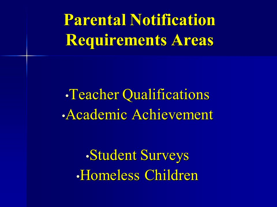 Teacher Qualifications School districts receiving Title 1 funds must notify parents about the right to request information about the qualification of their child's teacher and paraprofessionals.