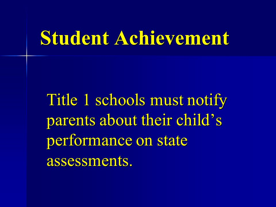 Student Achievement Title 1 schools must notify parents about their child's performance on state assessments.