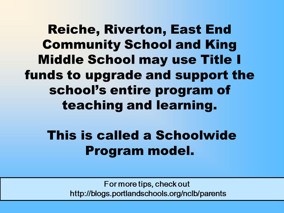 Reiche, Riverton, East End Community School and King Middle School may use Title I funds to upgrade and support the school's entire program of teaching and learning.