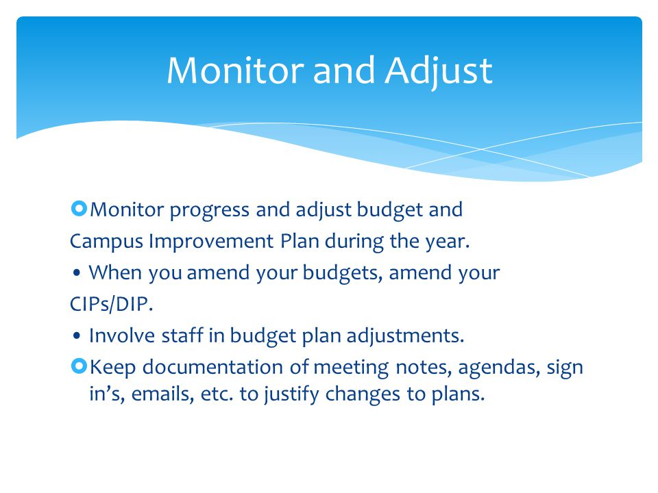  Monitor progress and adjust budget and Campus Improvement Plan during the year.