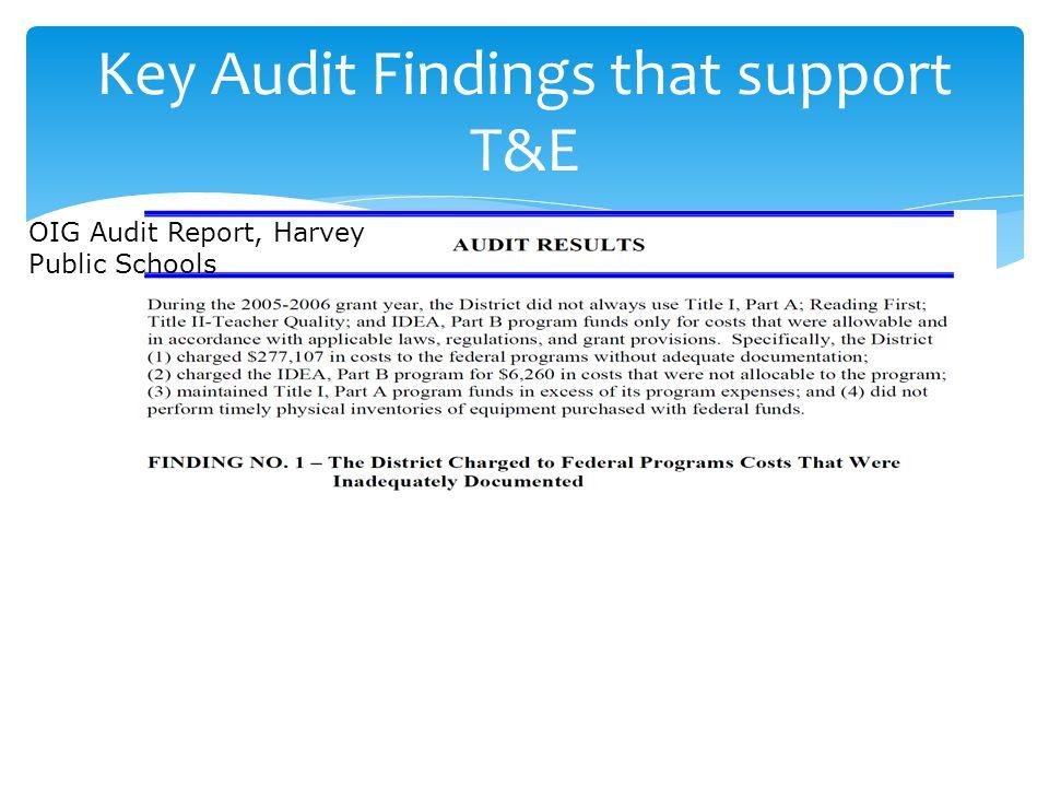 Key Audit Findings that support T&E OIG Audit Report, Harvey Public Schools