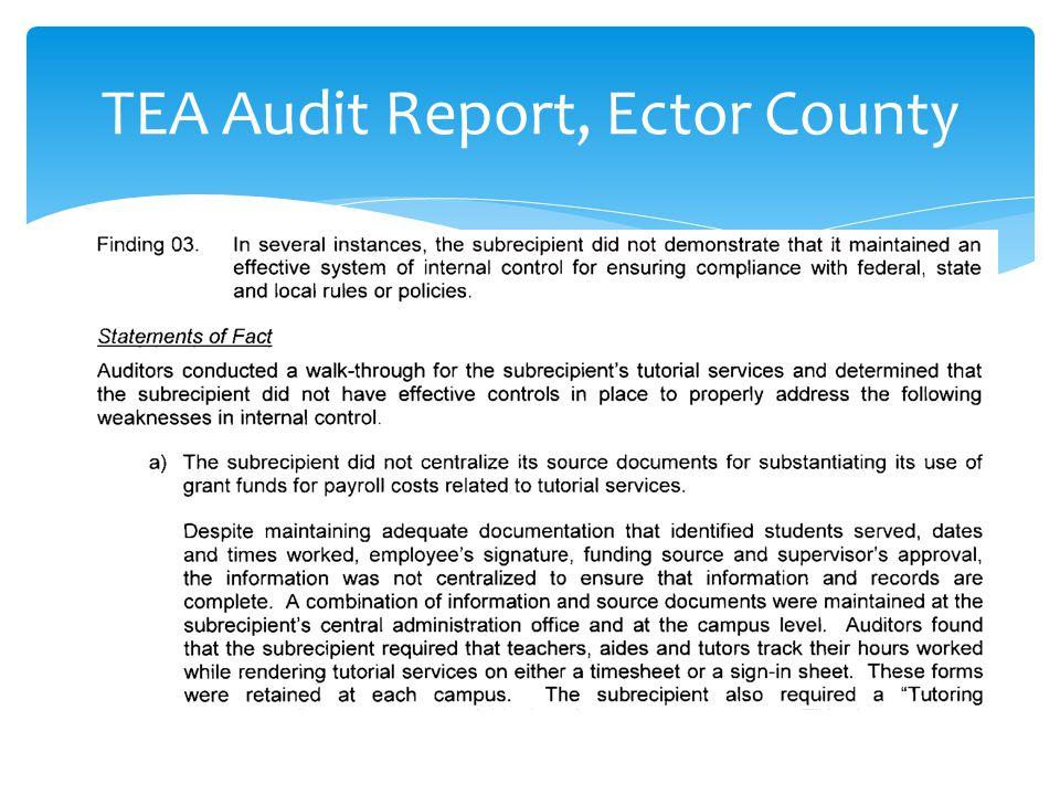 TEA Audit Report, Ector County