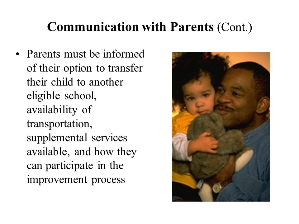 Communication with Parents (Cont.) Parents must be informed of their option to transfer their child to another eligible school, availability of transportation, supplemental services available, and how they can participate in the improvement process