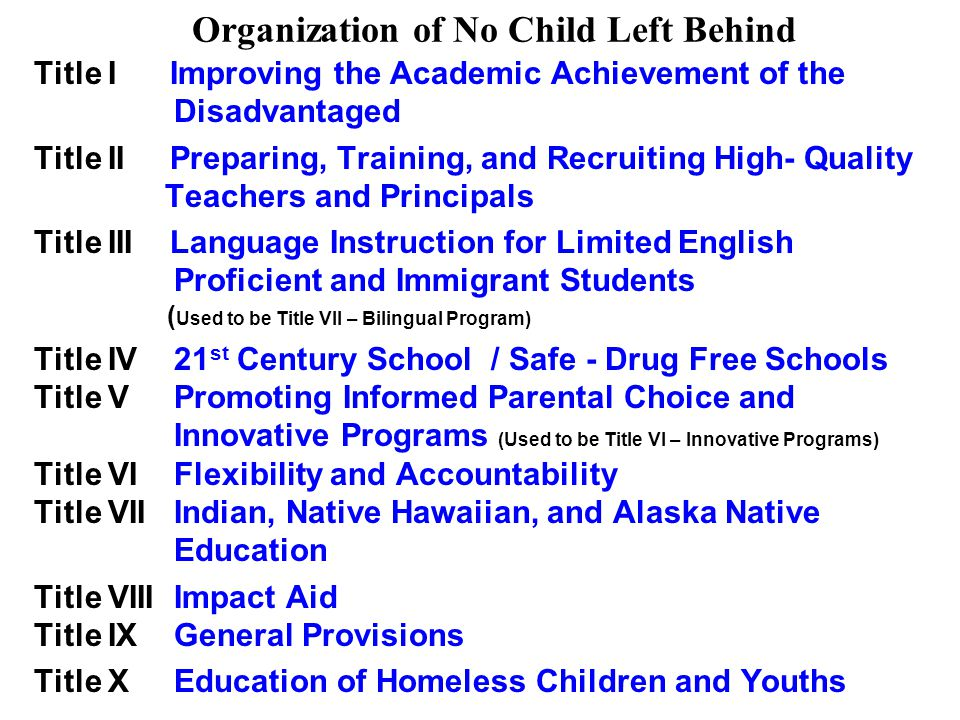 Organization of No Child Left Behind Title I Improving the Academic Achievement of the Disadvantaged Title II Preparing, Training, and Recruiting High- Quality Teachers and Principals Title III Language Instruction for Limited English Proficient and Immigrant Students ( Used to be Title VII – Bilingual Program) Title IV 21 st Century School / Safe - Drug Free Schools Title V Promoting Informed Parental Choice and Innovative Programs (Used to be Title VI – Innovative Programs) Title VI Flexibility and Accountability Title VII Indian, Native Hawaiian, and Alaska Native Education Title VIII Impact Aid Title IX General Provisions Title X Education of Homeless Children and Youths