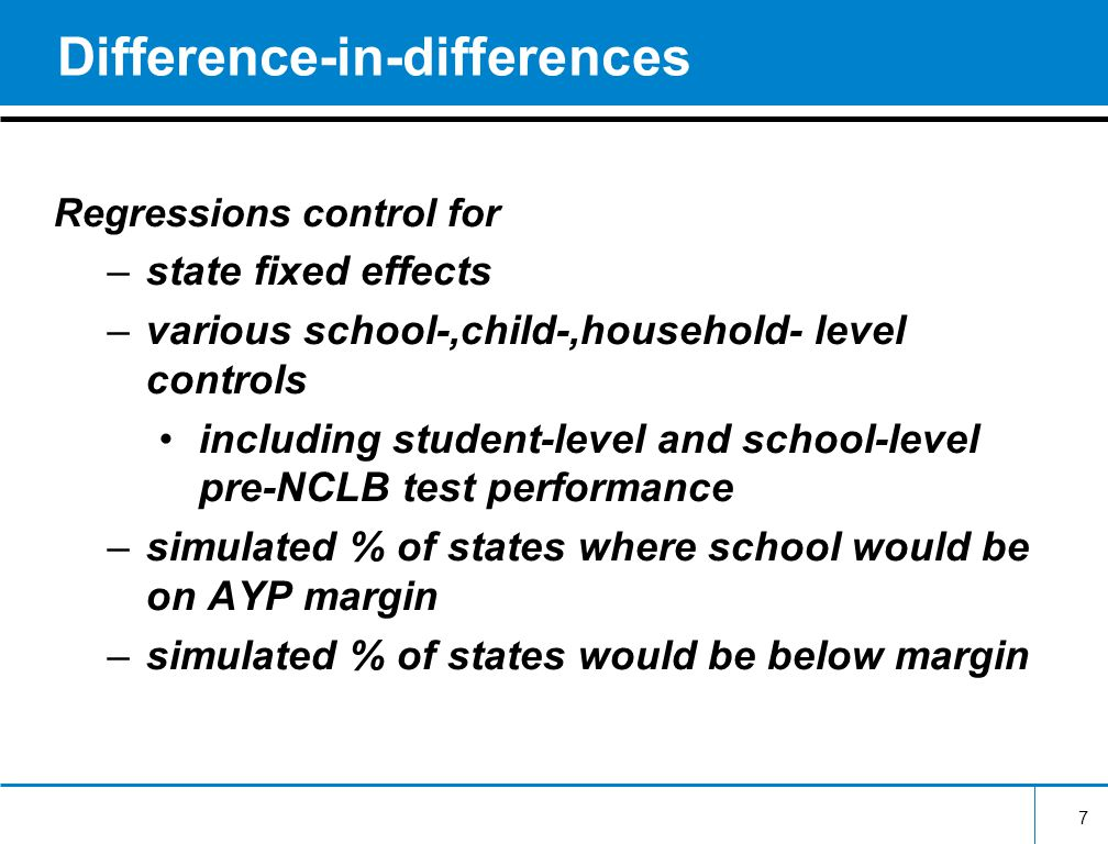 Difference-in-differences Regressions control for –state fixed effects –various school-,child-,household- level controls including student-level and school-level pre-NCLB test performance –simulated % of states where school would be on AYP margin –simulated % of states would be below margin 7