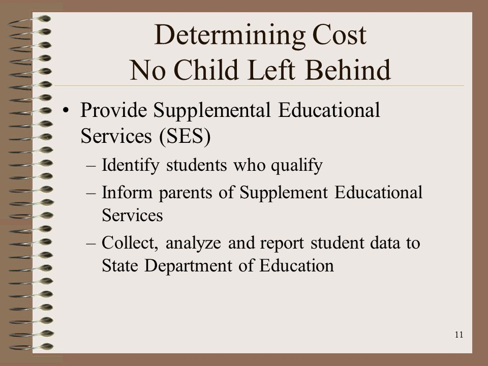 11 Determining Cost No Child Left Behind Provide Supplemental Educational Services (SES) –Identify students who qualify –Inform parents of Supplement Educational Services –Collect, analyze and report student data to State Department of Education