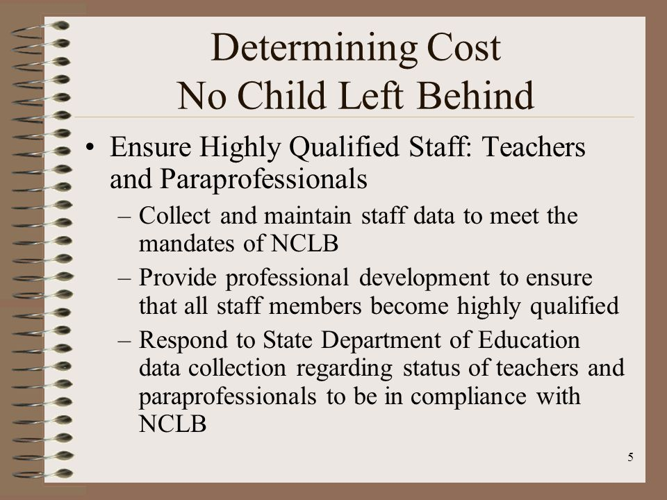 16 Cost Analysis Category 5: Assess ELLs for English Language Proficiency $48,247 Category 6: Provide Public School Choice $10,434 Category 7: Provide Supplemental Educational Services $5,179