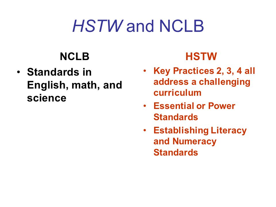 HSTW and NCLB State Accountability Systems Assessment once in grades 10-12 –NCLB Gaps in Achievement by sub- groups (5% rule) Concerns –Nothing in grade 9 HSTW SREB states have led in this area Moving Beyond NCLB –HSTW Assessments –TAV Reports