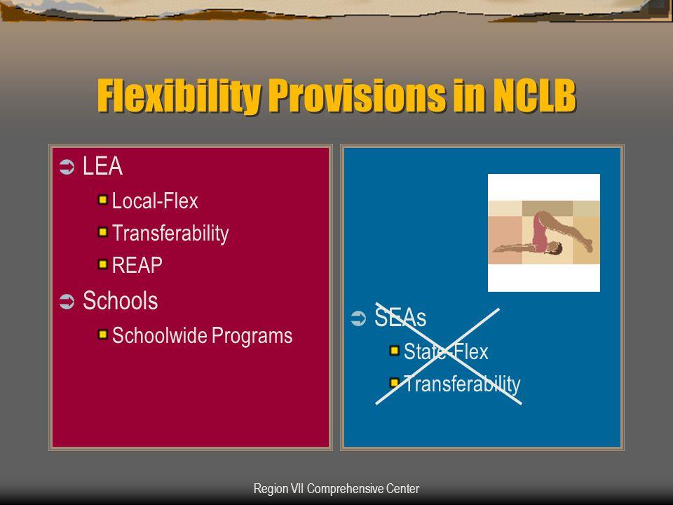Region VII Comprehensive Center Flexibility Provisions in NCLB  LEA Local-Flex Transferability REAP  Schools Schoolwide Programs  SEAs State-Flex Transferability