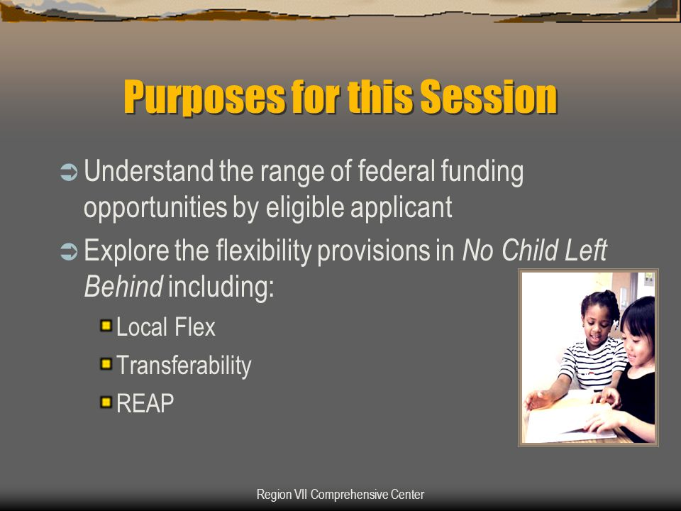 Region VII Comprehensive Center Purposes for this Session  Understand the range of federal funding opportunities by eligible applicant  Explore the