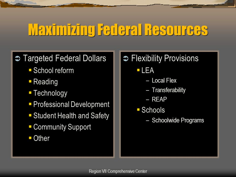Region VII Comprehensive Center Maximizing Federal Resources  Targeted Federal Dollars School reform Reading Technology Professional Development Stud