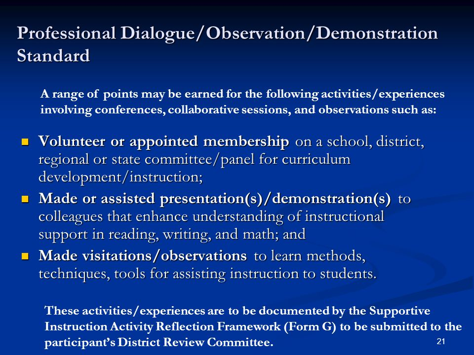 21 Professional Dialogue/Observation/Demonstration Standard Volunteer or appointed membership on a school, district, regional or state committee/panel for curriculum development/instruction; Volunteer or appointed membership on a school, district, regional or state committee/panel for curriculum development/instruction; Made or assisted presentation(s)/demonstration(s) to colleagues that enhance understanding of instructional support in reading, writing, and math; and Made or assisted presentation(s)/demonstration(s) to colleagues that enhance understanding of instructional support in reading, writing, and math; and Made visitations/observations to learn methods, techniques, tools for assisting instruction to students.