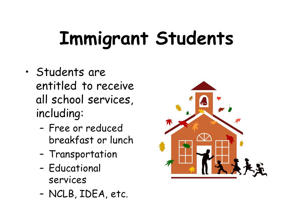 Immigrant Students Students are entitled to receive all school services, including: –Free or reduced breakfast or lunch –Transportation –Educational services –NCLB, IDEA, etc.