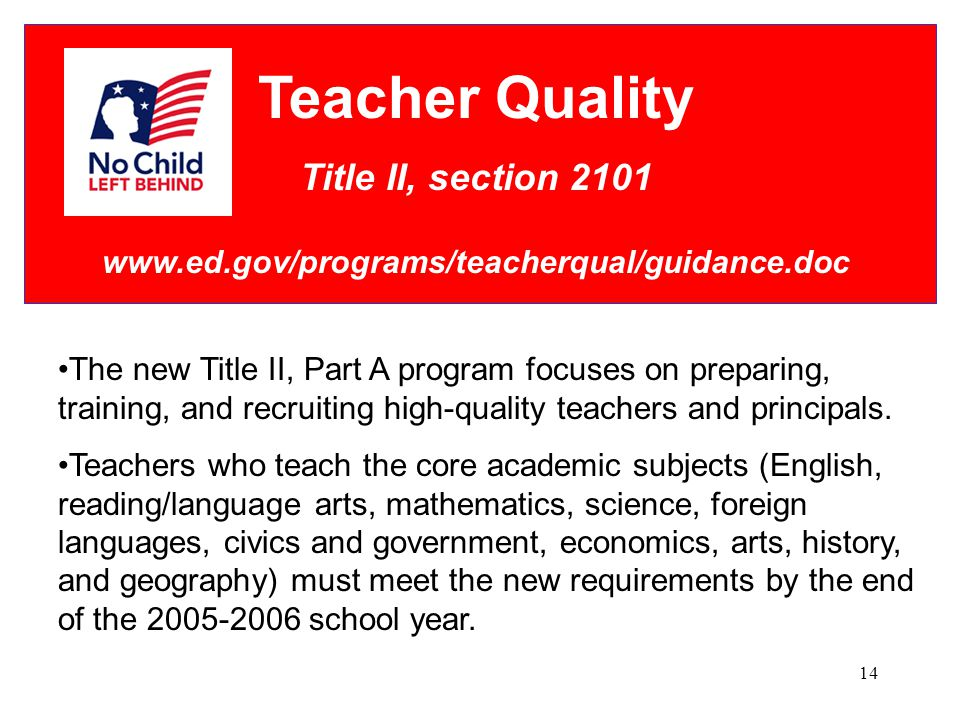 14 Teacher Quality Title II, section 2101 www.ed.gov/programs/teacherqual/guidance.doc The new Title II, Part A program focuses on preparing, training, and recruiting high-quality teachers and principals.