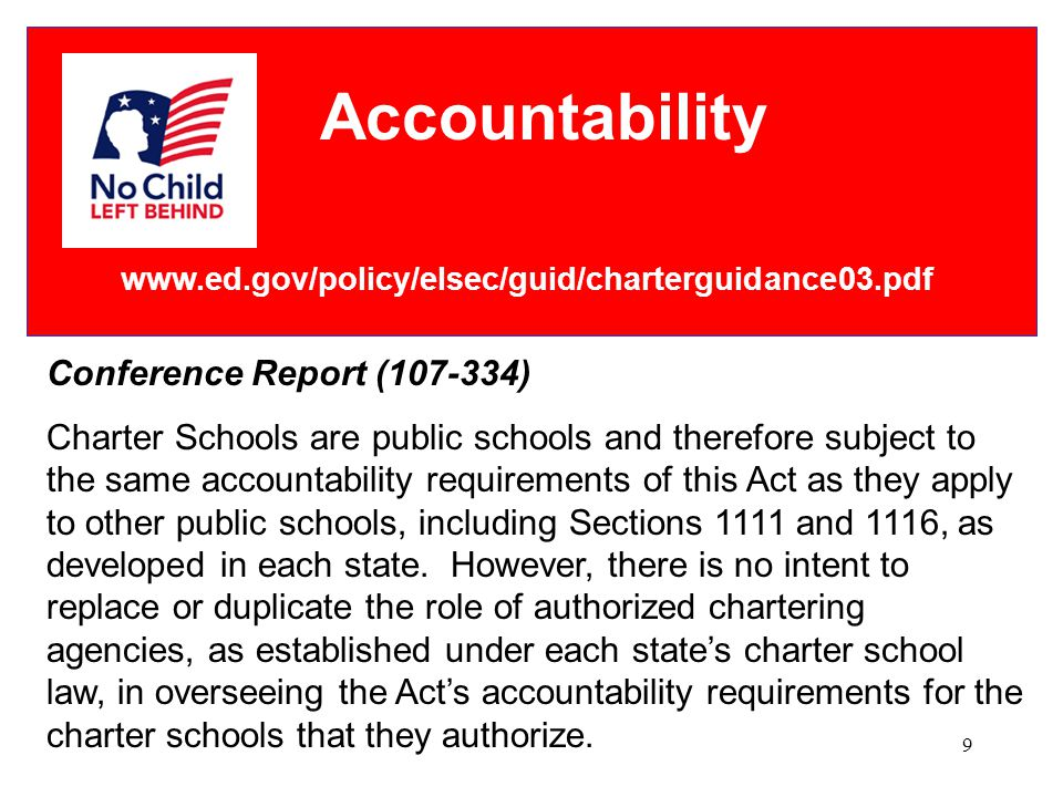 9 Accountability www.ed.gov/policy/elsec/guid/charterguidance03.pdf Conference Report (107-334) Charter Schools are public schools and therefore subject to the same accountability requirements of this Act as they apply to other public schools, including Sections 1111 and 1116, as developed in each state.