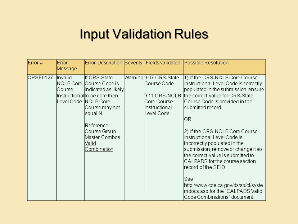 Input Validation Rules Error #Error Message Error DescriptionSeverity Fields validatedPossible Resolution CRSE0127Invalid NCLB Core Course Instructional Level Code If CRS-State Course Code is indicated as likely to be core then NCLB Core Course may not equal N Reference Course Group Master Combos Valid Combination Course Group Master Combos Valid Combination Warning9.07 CRS-State Course Code 9.11 CRS-NCLB Core Course Instructional Level Code 1) If the CRS-NCLB Core Course Instructional Level Code is correctly populated in the submission, ensure the correct value for CRS-State Course Code is provided in the submitted record.