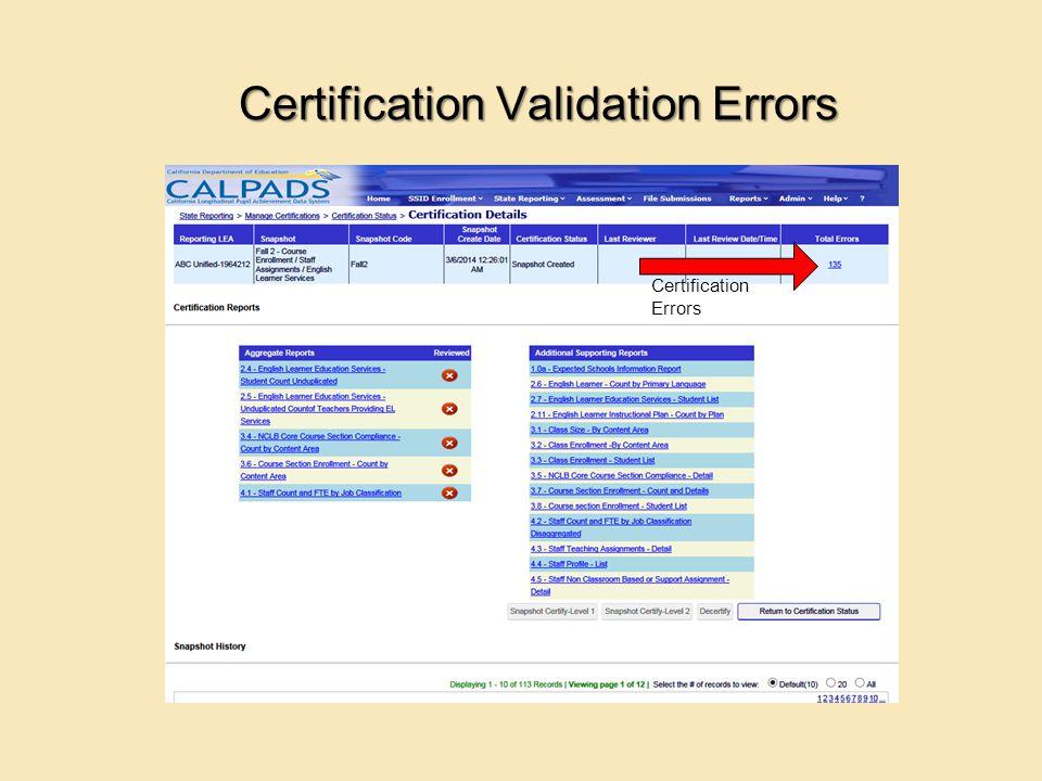 Certification Validation Errors Certification Errors