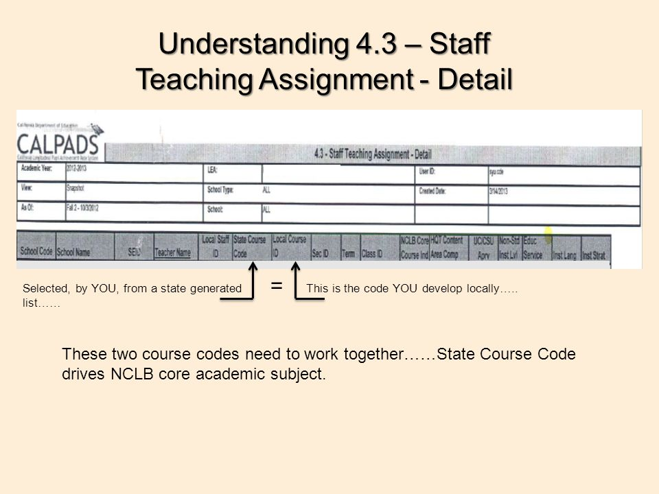 This is the code YOU develop locally…..Selected, by YOU, from a state generated list…… = Understanding 4.3 – Staff Teaching Assignment - Detail These two course codes need to work together……State Course Code drives NCLB core academic subject.