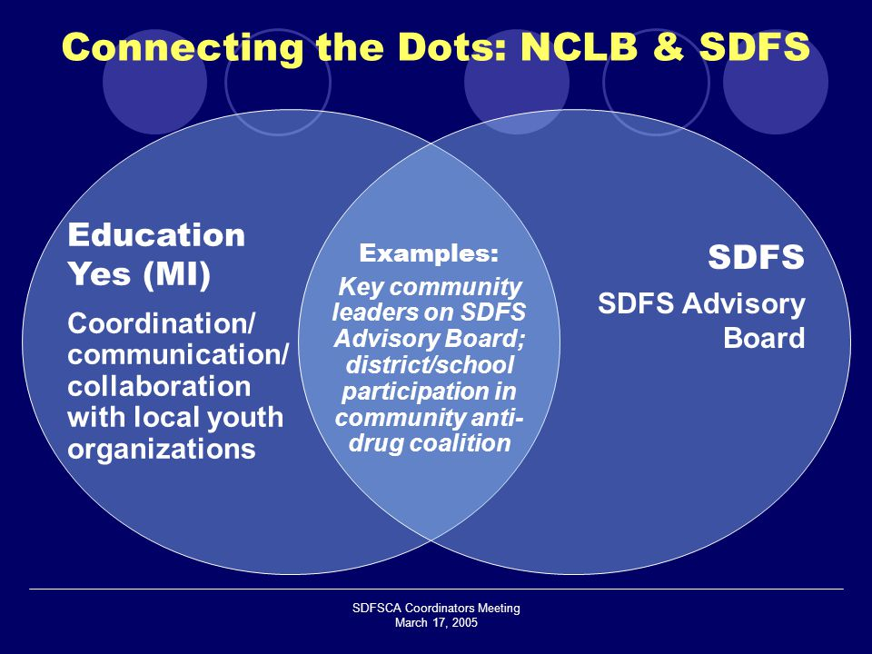 SDFSCA Coordinators Meeting March 17, 2005 Education Yes (MI) Coordination/ communication/ collaboration with local youth organizations SDFS SDFS Advisory Board Examples: Key community leaders on SDFS Advisory Board; district/school participation in community anti- drug coalition Connecting the Dots: NCLB & SDFS