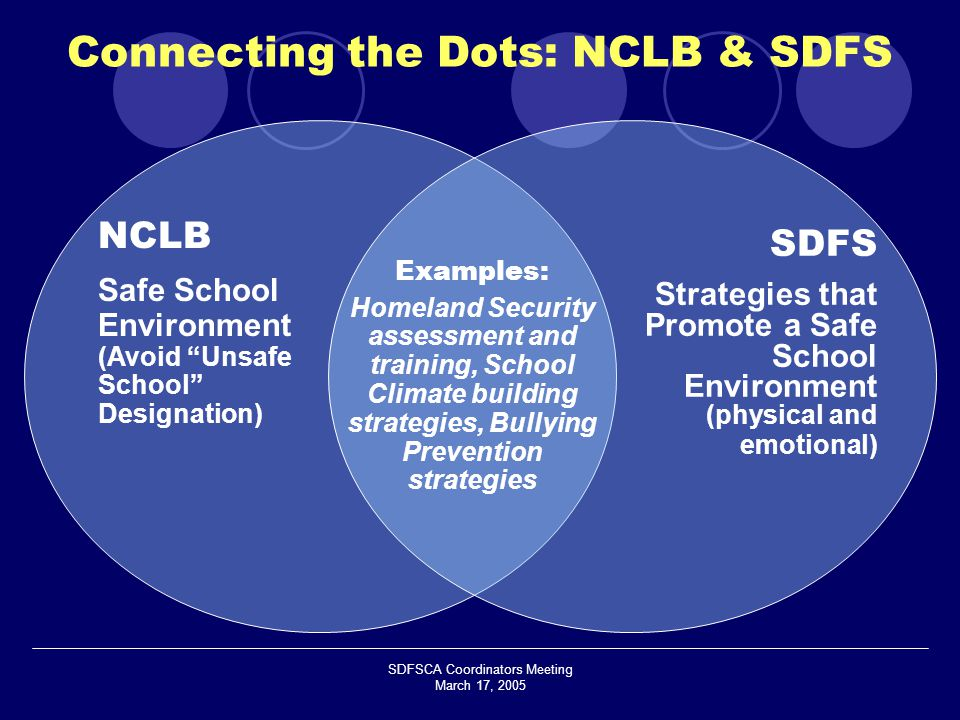 SDFSCA Coordinators Meeting March 17, 2005 NCLB Safe School Environment (Avoid Unsafe School Designation) SDFS Strategies that Promote a Safe School Environment (physical and emotional) Examples: Homeland Security assessment and training, School Climate building strategies, Bullying Prevention strategies Connecting the Dots: NCLB & SDFS