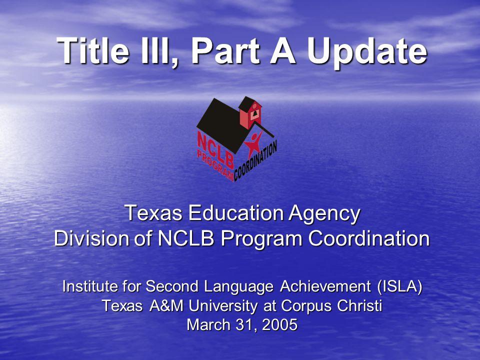Title III Accountability Annual Measurable Achievement Objectives