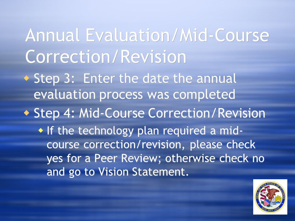 Annual Evaluation/Mid-Course Correction/Revision  Step 3: Enter the date the annual evaluation process was completed  Step 4: Mid-Course Correction/