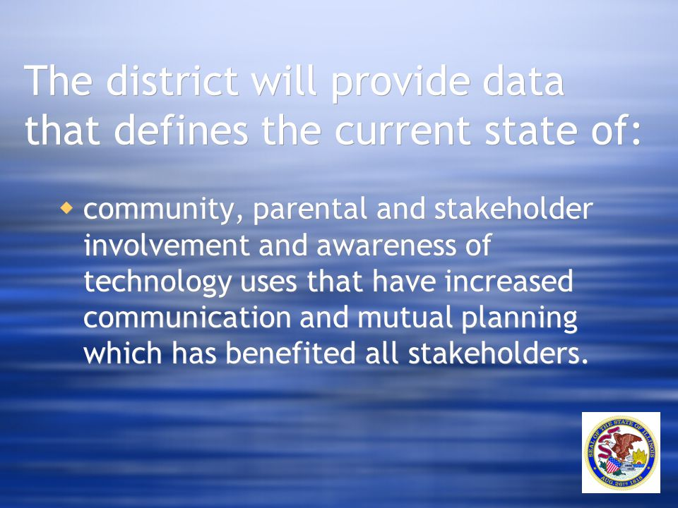 The district will provide data that defines the current state of:  community, parental and stakeholder involvement and awareness of technology uses t