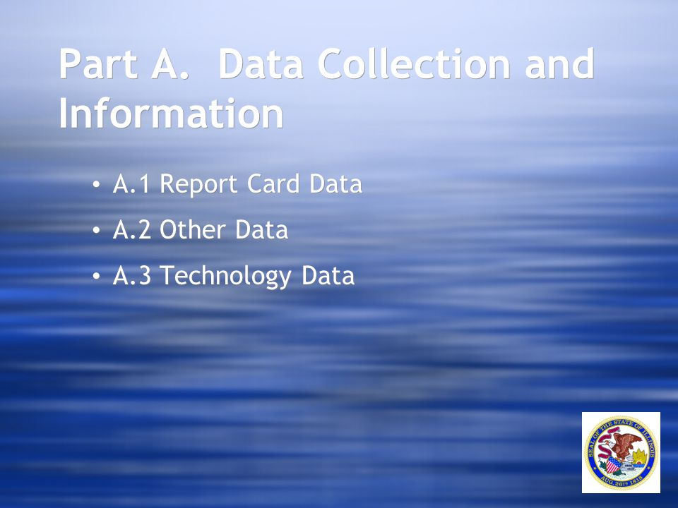 Part A. Data Collection and Information A.1 Report Card Data A.2 Other Data A.3 Technology Data A.1 Report Card Data A.2 Other Data A.3 Technology Dat