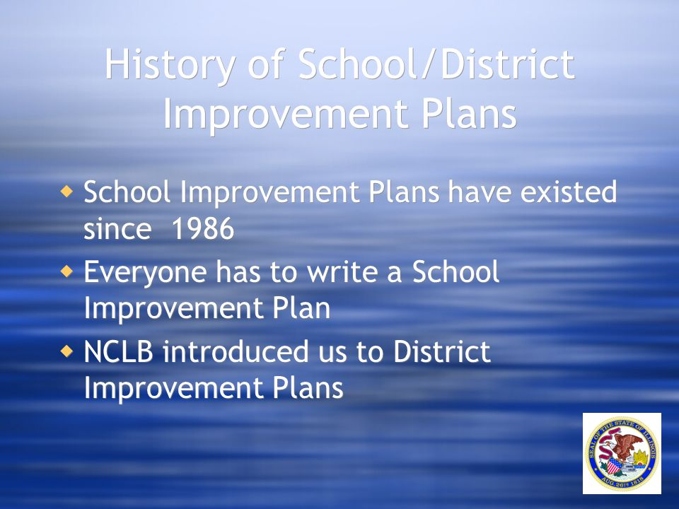 History of School/District Improvement Plans  School Improvement Plans have existed since 1986  Everyone has to write a School Improvement Plan  NC