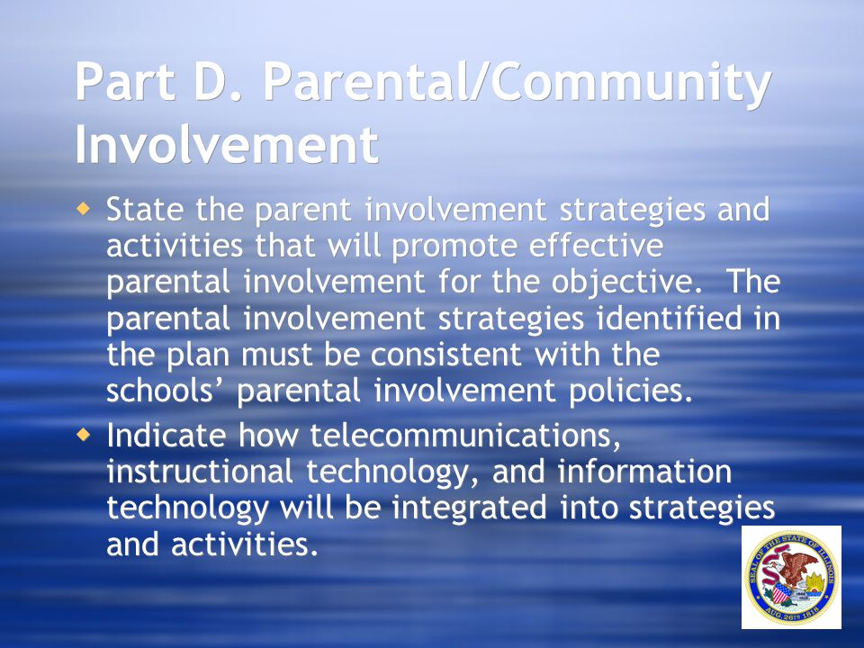 Part D. Parental/Community Involvement  State the parent involvement strategies and activities that will promote effective parental involvement for t