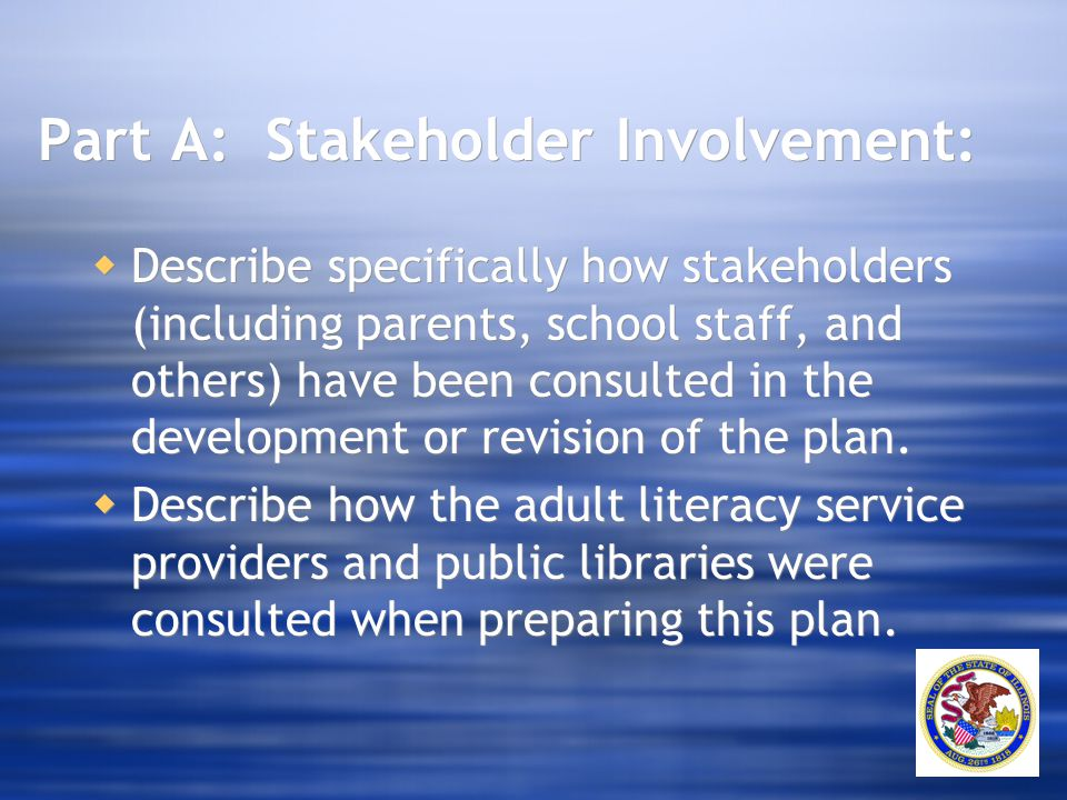 Part A: Stakeholder Involvement:  Describe specifically how stakeholders (including parents, school staff, and others) have been consulted in the dev