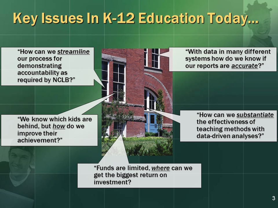 3 Key Issues In K-12 Education Today… With data in many different systems how do we know if our reports are accurate How can we streamline our process for demonstrating accountability as required by NCLB How can we substantiate the effectiveness of teaching methods with data-driven analyses Funds are limited, where can we get the biggest return on investment.