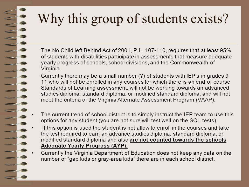Why this group of students exists. The No Child left Behind Act of 2001, P.L.