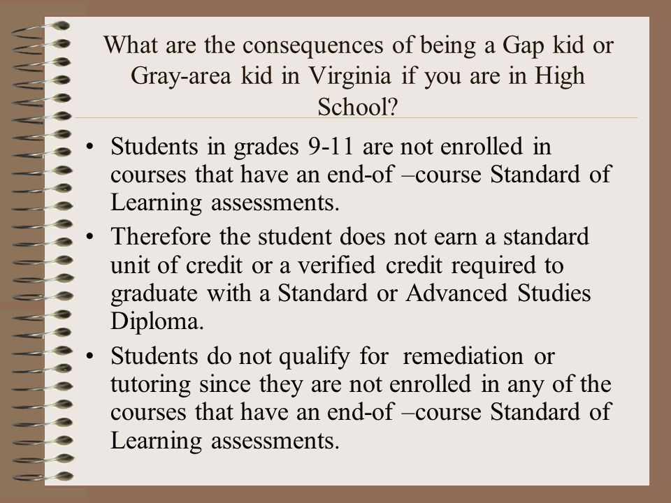 What are the consequences of being a Gap kid or Gray-area kid in Virginia if you are in High School.