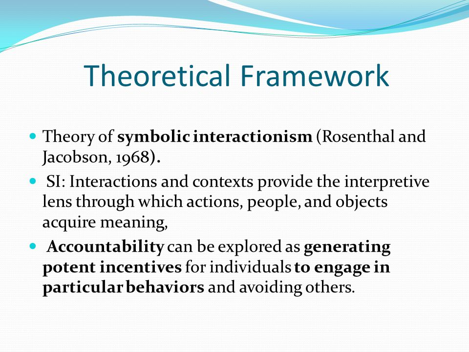 Theoretical Framework Theory of symbolic interactionism (Rosenthal and Jacobson, 1968). SI: Interactions and contexts provide the interpretive lens th