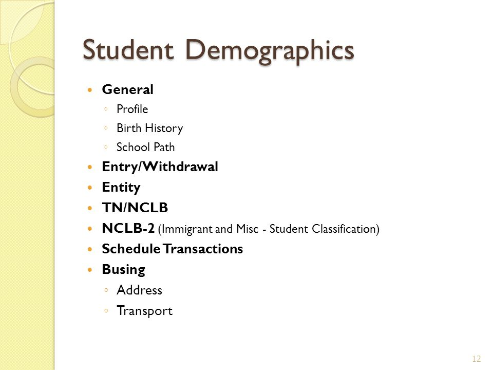 Student Demographics General ◦ Profile ◦ Birth History ◦ School Path Entry/Withdrawal Entity TN/NCLB NCLB-2 (Immigrant and Misc - Student Classification) Schedule Transactions Busing ◦ Address ◦ Transport 12