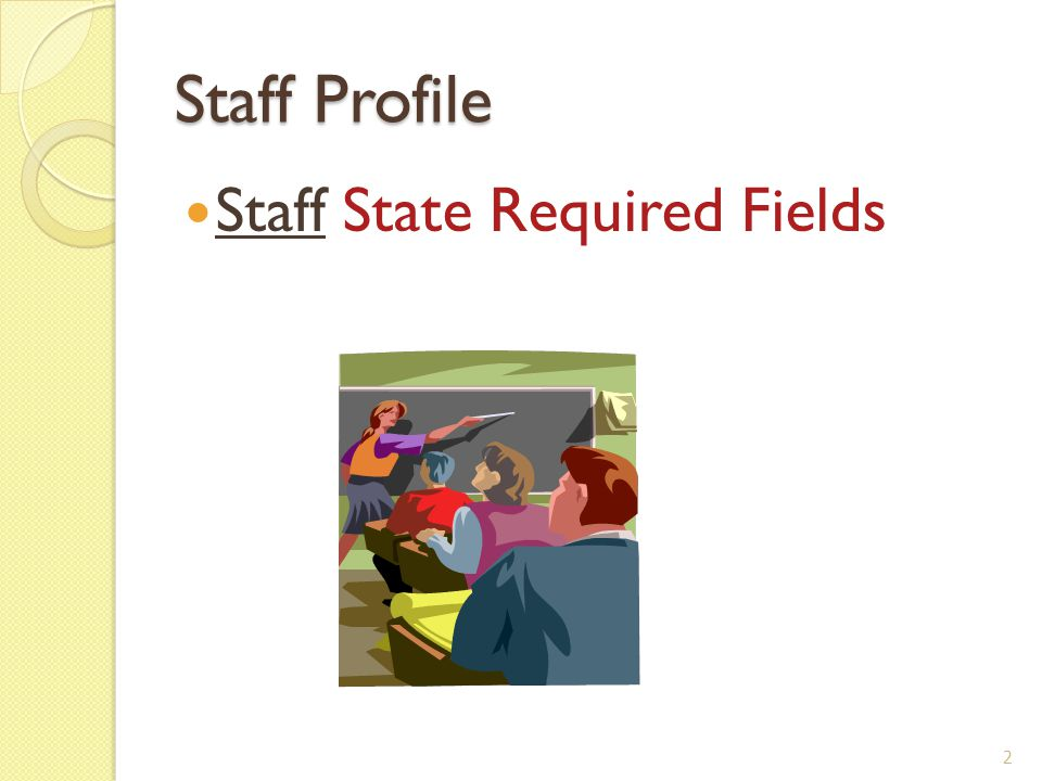 Staff Profile – Add Staff Staff Staff Profile Add Tutorial - ?Help (top right) 3