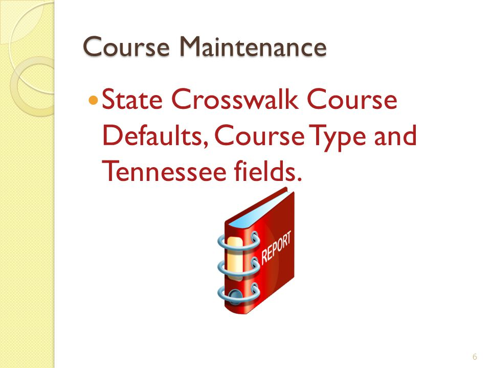 Course State Crosswalk Edit Course Defaults Select Course Master OF/CS/BC/CM OFfice Current Scheduling Build Course Master Course Master 7
