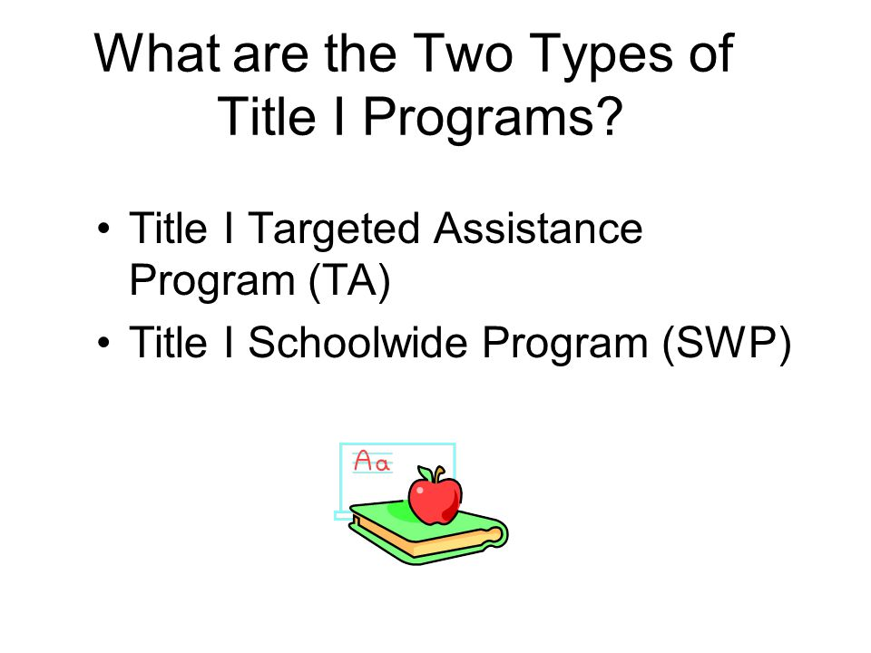 What are the Two Types of Title I Programs.