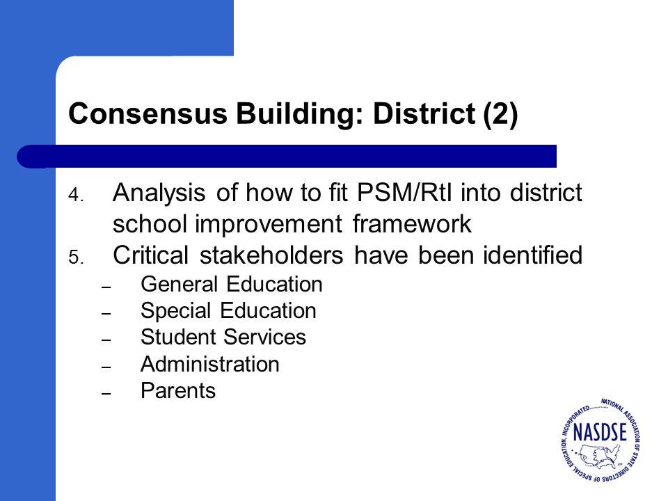 Consensus Building: District (2) 4.