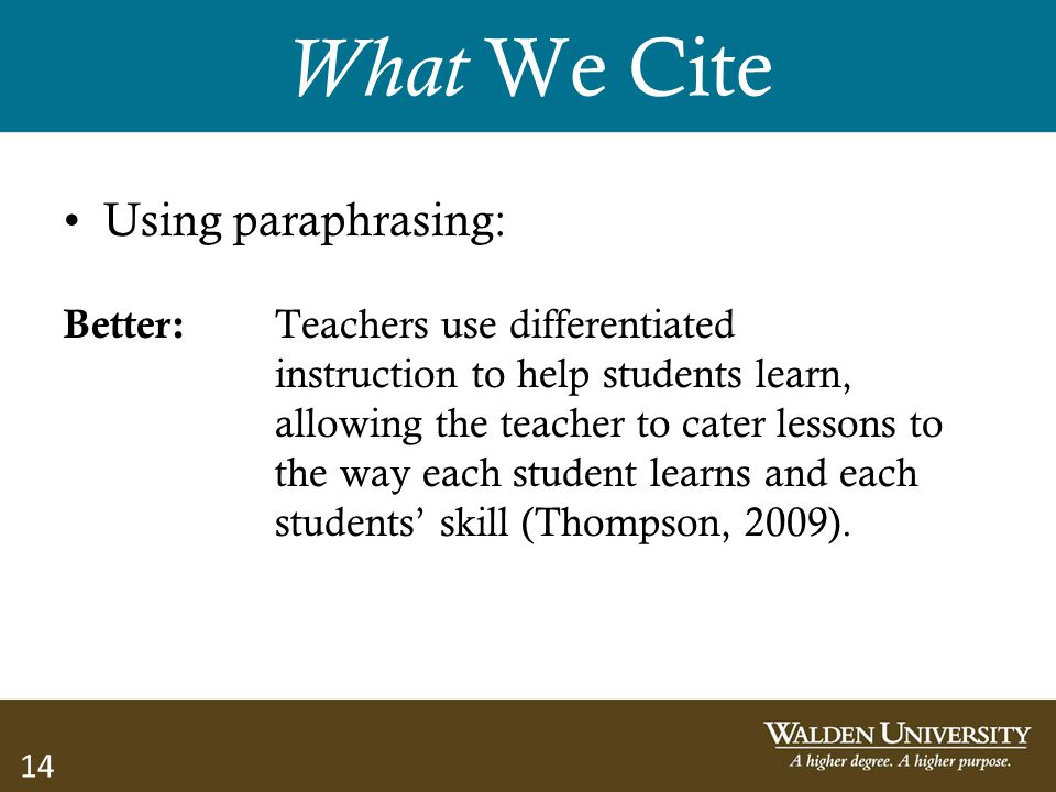 14 What We Cite Using paraphrasing: Better: Teachers use differentiated instruction to help students learn, allowing the teacher to cater lessons to t