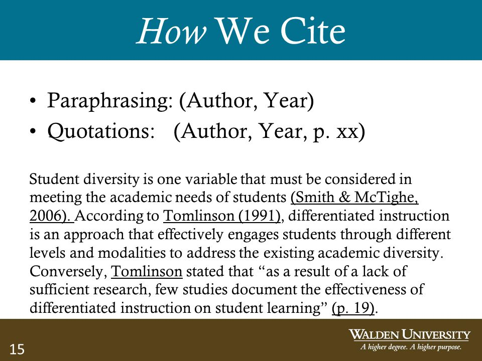 15 How We Cite Paraphrasing: (Author, Year) Quotations: (Author, Year, p. xx) Student diversity is one variable that must be considered in meeting the