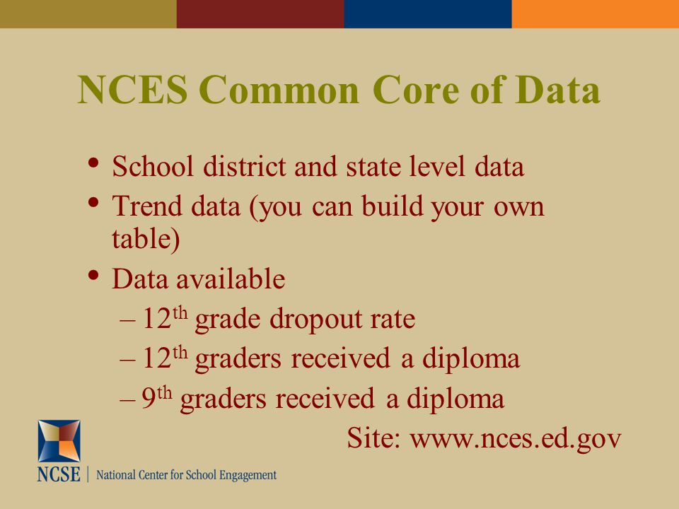 NCES Common Core of Data School district and state level data Trend data (you can build your own table) Data available –12 th grade dropout rate –12 th graders received a diploma –9 th graders received a diploma Site: www.nces.ed.gov