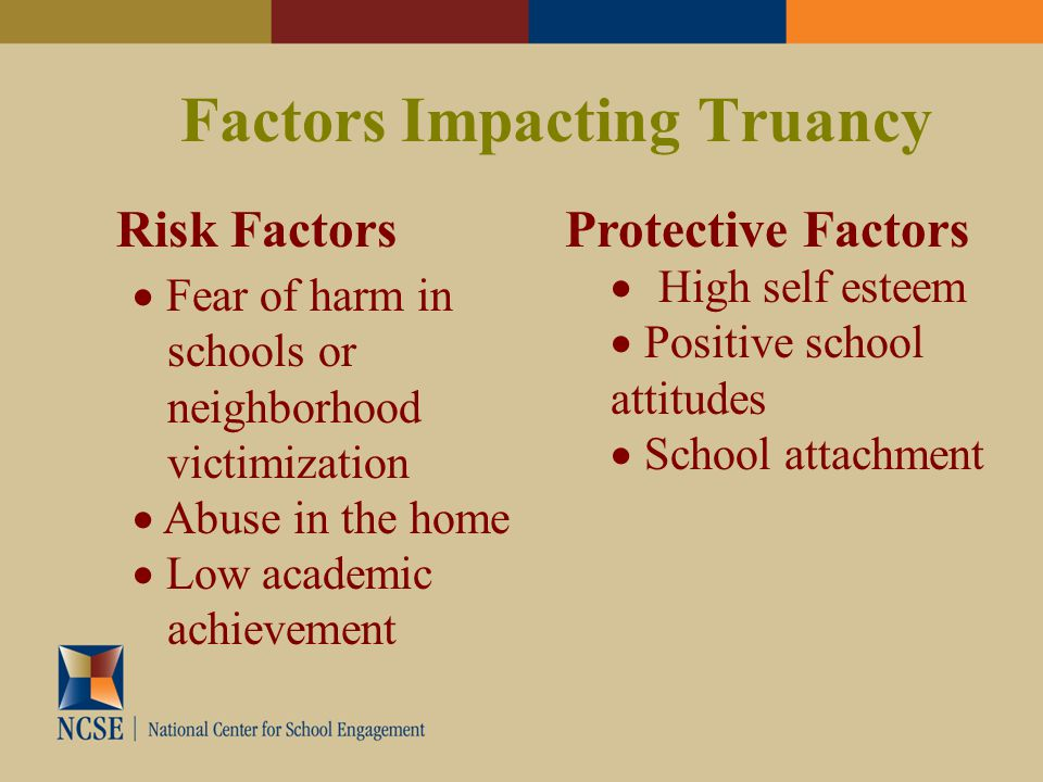 Factors Impacting Truancy Risk FactorsProtective Factors  Fear of harm in schools or neighborhood victimization  Abuse in the home  Low academic achievement  High self esteem  Positive school attitudes  School attachment