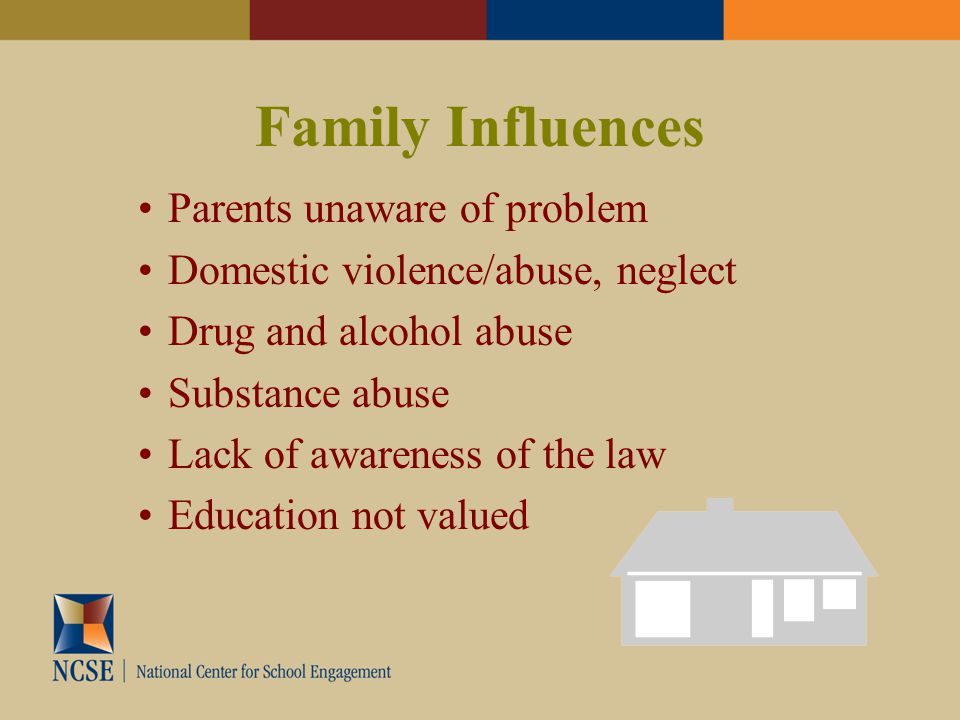 Parents unaware of problem Domestic violence/abuse, neglect Drug and alcohol abuse Substance abuse Lack of awareness of the law Education not valued Family Influences