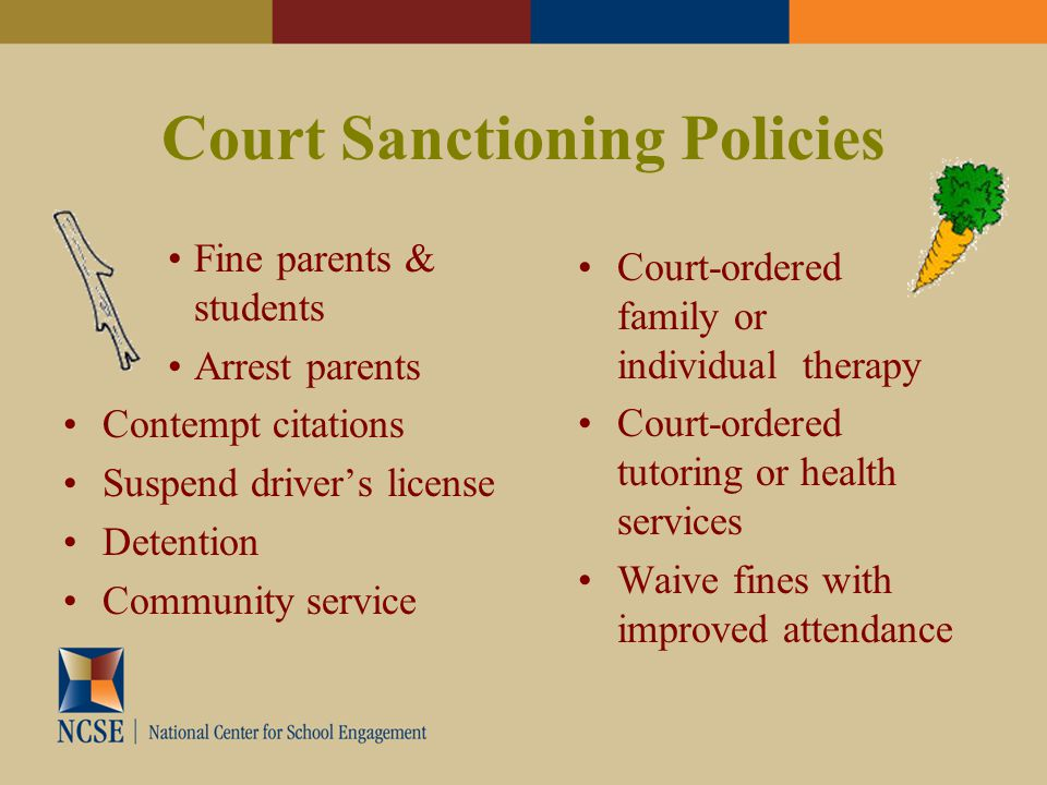 Court Sanctioning Policies Fine parents & students Arrest parents Contempt citations Suspend driver's license Detention Community service Court-ordered family or individual therapy Court-ordered tutoring or health services Waive fines with improved attendance