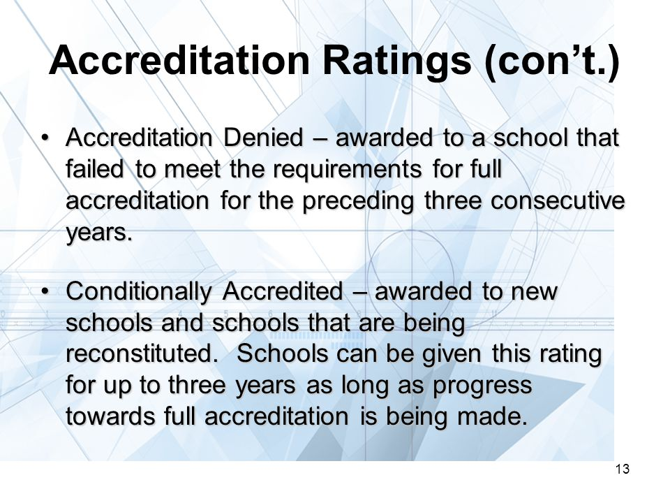13 Accreditation Ratings (con't.) Accreditation Denied – awarded to a school that failed to meet the requirements for full accreditation for the preceding three consecutive years.Accreditation Denied – awarded to a school that failed to meet the requirements for full accreditation for the preceding three consecutive years.