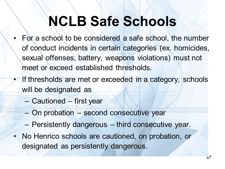 47 NCLB Safe Schools For a school to be considered a safe school, the number of conduct incidents in certain categories (ex.